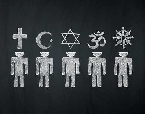 blackboard concept, signs of world religions - major religions group chalked on a blackboard