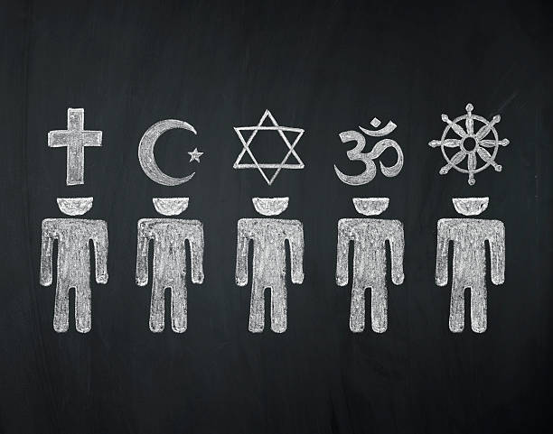 world religions - major religions group blackboard concept, signs of world religions - major religions group chalked on a blackboard religion stock pictures, royalty-free photos & images