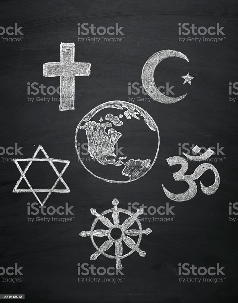 world religions - major religions group vector art illustration
