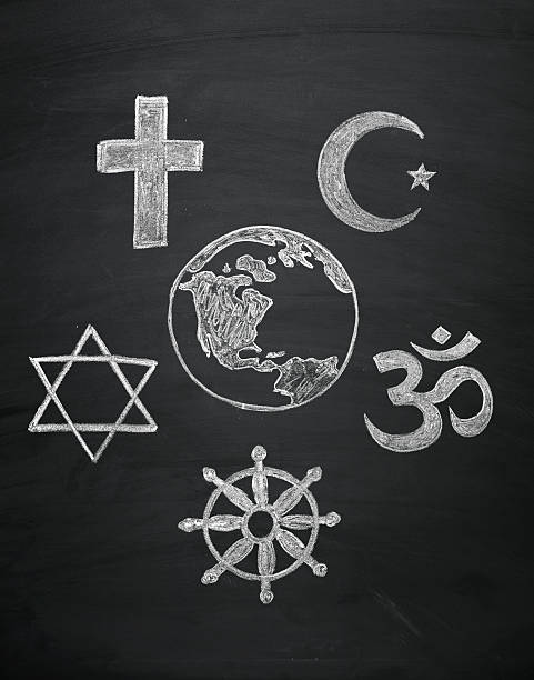 world religions - major religions group blackboard concept, signs of world religions - major religions group chalked on a blackboard religious symbol stock pictures, royalty-free photos & images