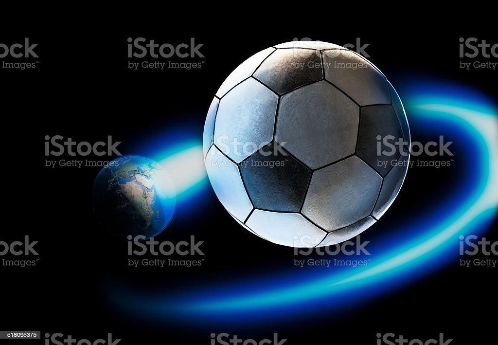 world revolving football stock photo