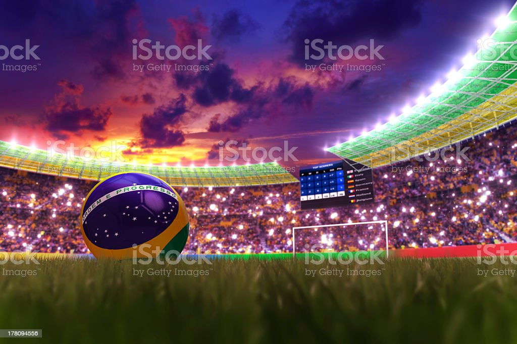 World soccer cup in 2014 at night stock photo