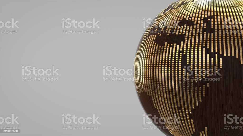 world symbol made of wood and gold.3D rendering stock photo