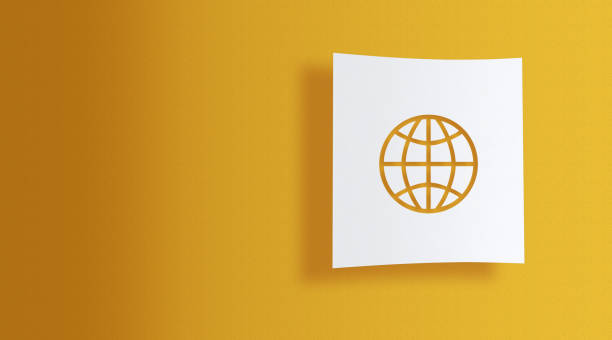 world symbol on white information paper on yellow background stock photo