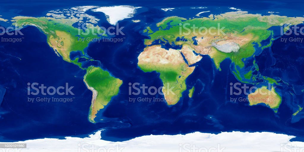 World Topographic Map Stock Photo More Pictures Of 360 Degree View