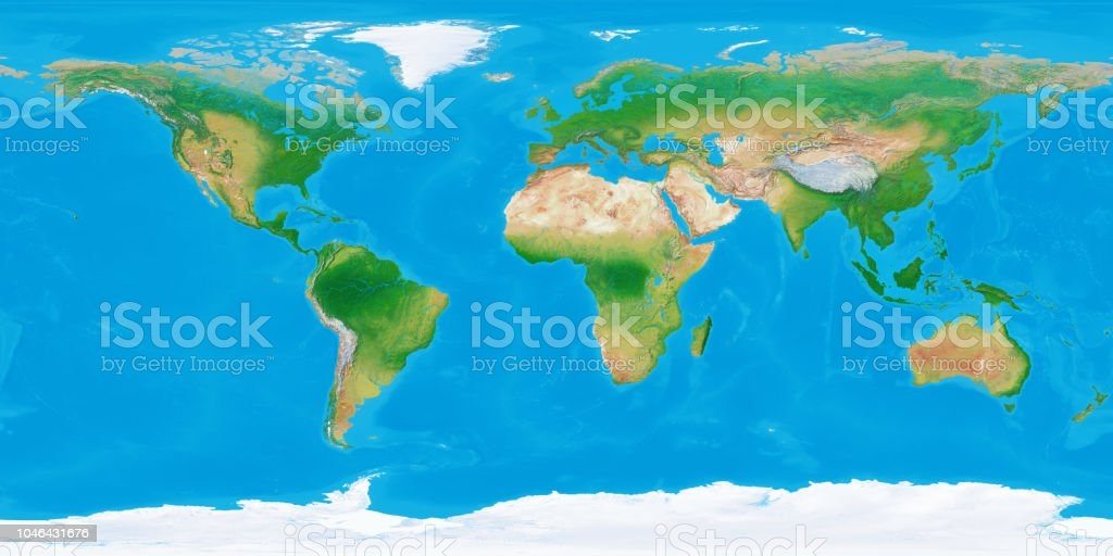 360 Degree World Map.World Topographic Map Stock Photo More Pictures Of 360 Degree View