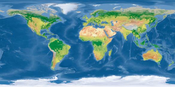 istock world Topographic Map 182058785