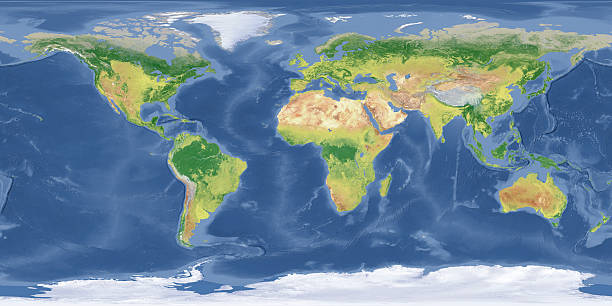 """world Topographic Map """"High quality surface map, natural colors, clouds cover.Clouds map comes from earthobservatory/nasa.The software to createA!Photoshop CS5"""" satellite view stock pictures, royalty-free photos & images"""