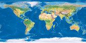 Digital world map Terrain。The software to create:Photoshop CS5