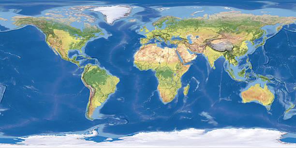 world map topography stock photos
