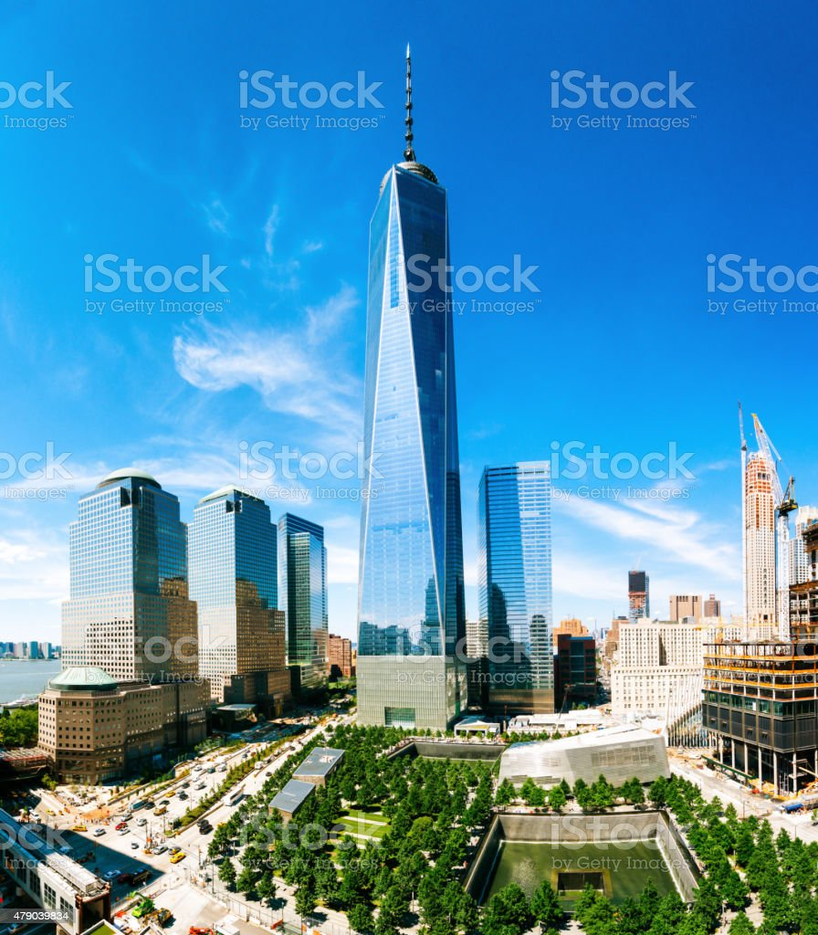 World Trade Center Aerial View in New York City stock photo