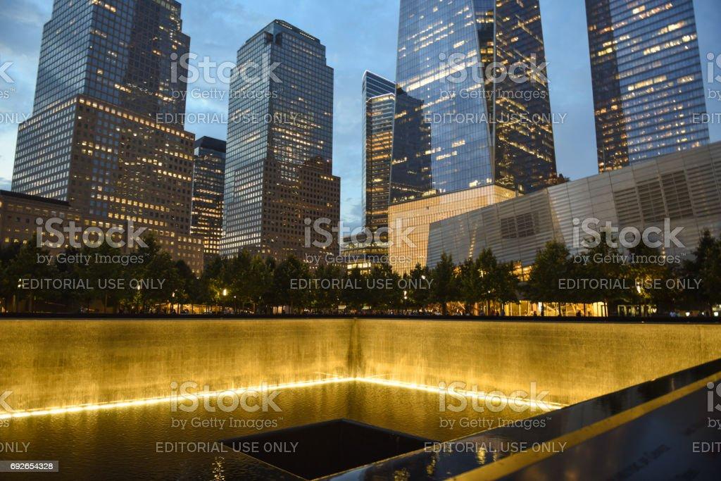 NEW YORK, USA - September 10, 2016: World Trade Center and national September 11 Memorial and Museum stock photo