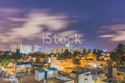 World trade center in Malleshwaram, Bangalore, Karnataka, India during a beautiful sunset in Monsoons. Long exposure image of Clouds swiftly moving across. City hub. Commercial & Technology center