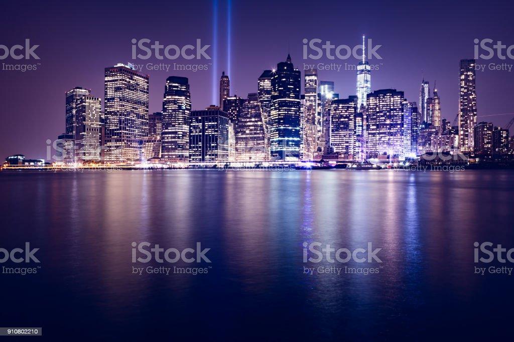 World Trade Center Lights over Manhattan. Great view of Manhattan skyline from Brooklyn at dusk stock photo