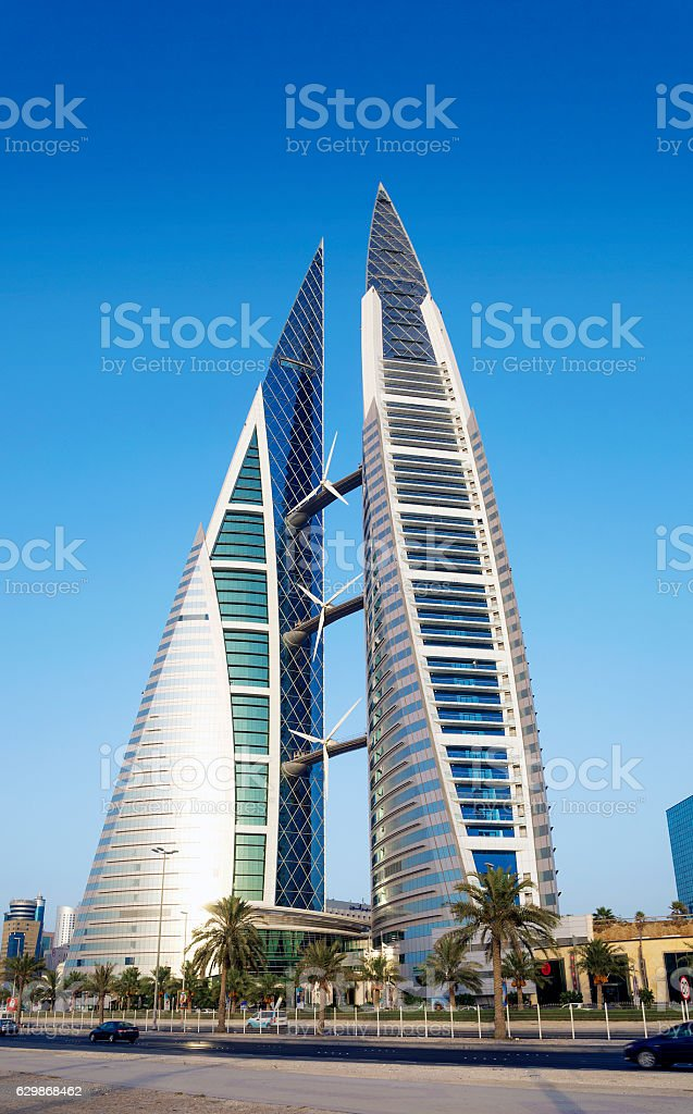 world trade center modern landmark in central manama city bahrain stock photo