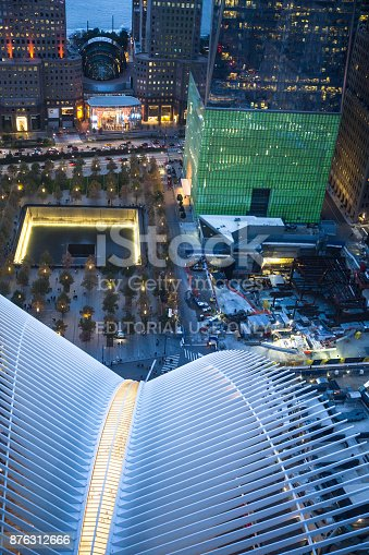New York City, New York, USA - November 11, 2017: Night View of The World Trade Center in lower Manhattan seen from above with buildings and Oculus in view