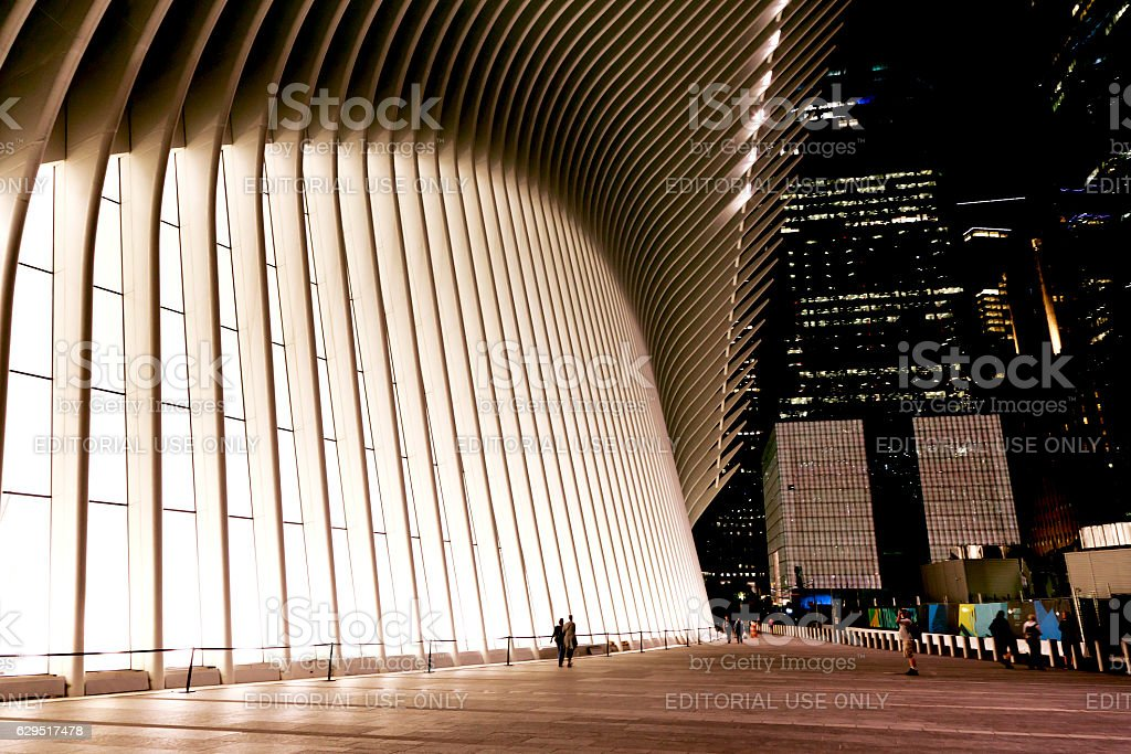 World Trade Center Transportation Hub in night stock photo