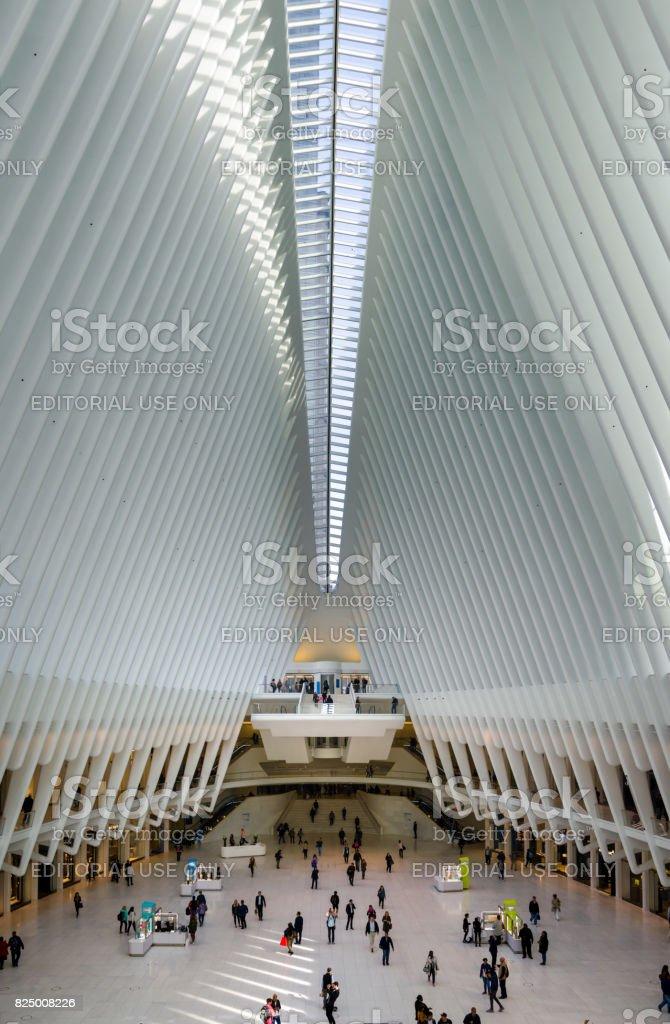 World Trade Center Transportation hub interior with people walking towards the subway stock photo