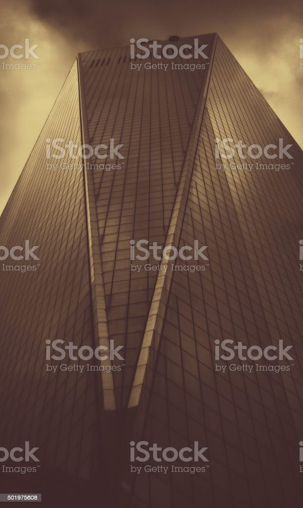 World trade center under foggy skies. Dramatic, film noir like. stock photo