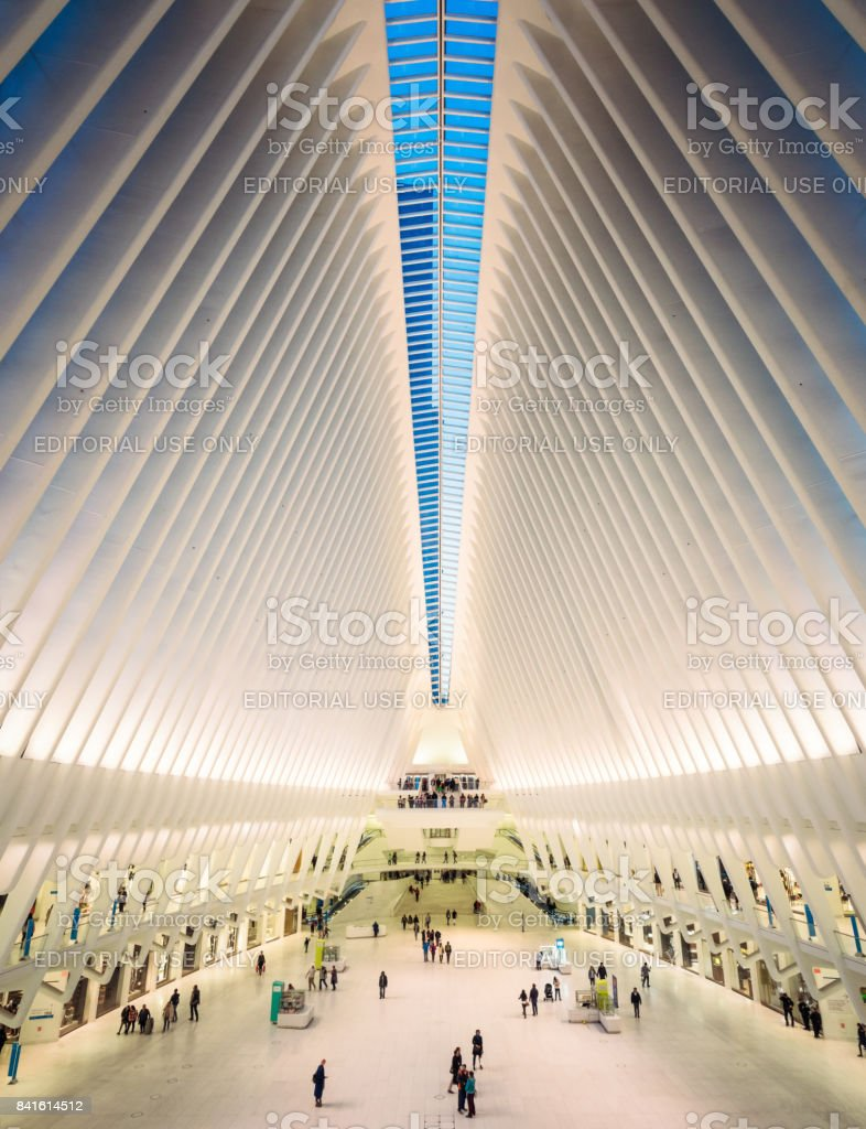 World Trade Centre Oculus Transportation Hub interior stock photo