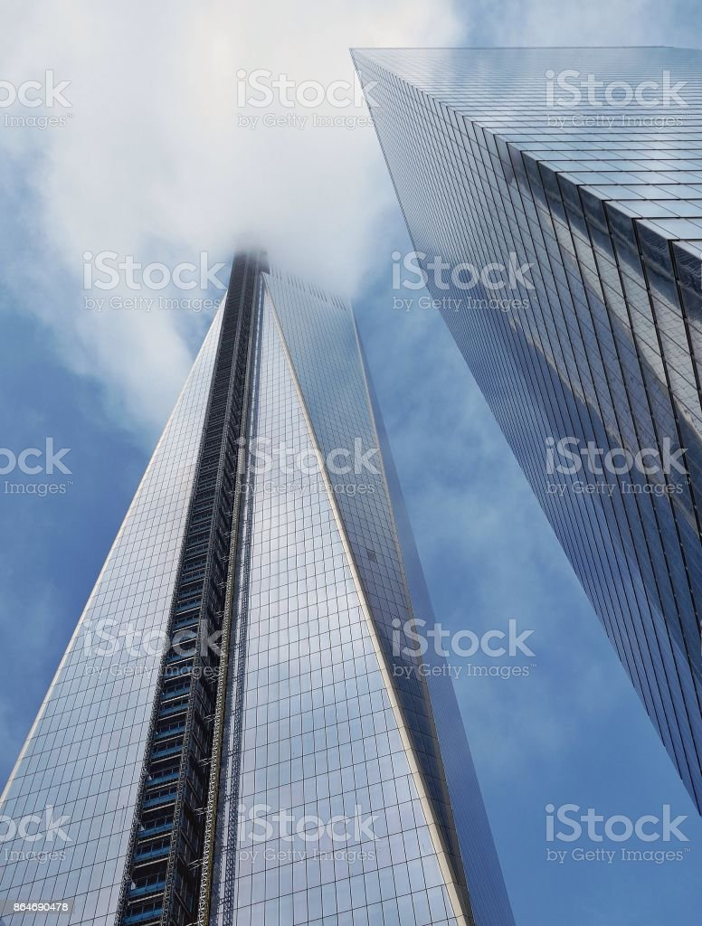World Trade in clouds stock photo