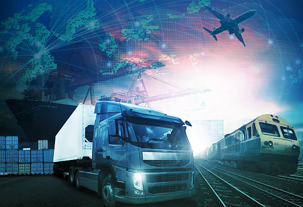 world trading with industries truck,trains,ship and air cargo - train vehicle stock photos and pictures