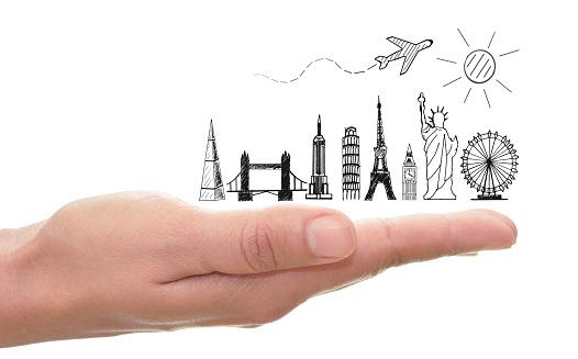 World travel global landmarks