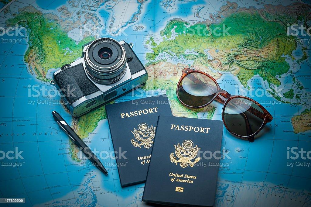 World travel objects stock photo
