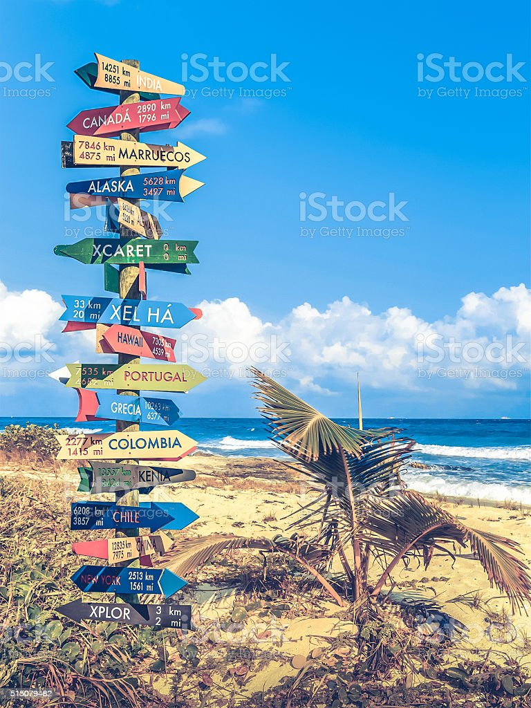World travel signpost stock photo