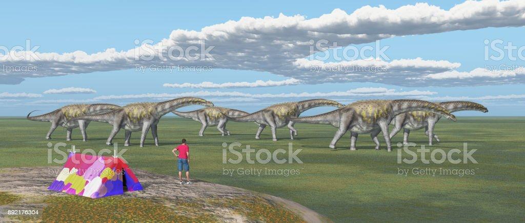 Dinosaurios de viajero y pasar de mundo - foto de stock
