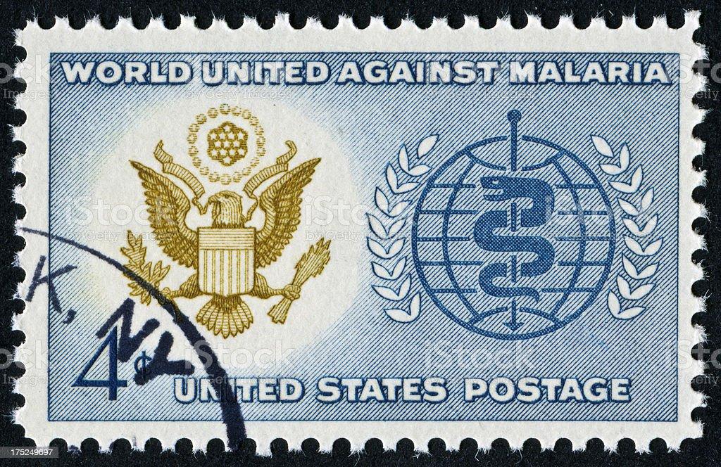 World United Against Malaria Stamp royalty-free stock photo