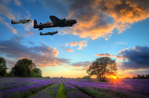 World War 2 aircraft over lavender sunset landscape stock photo