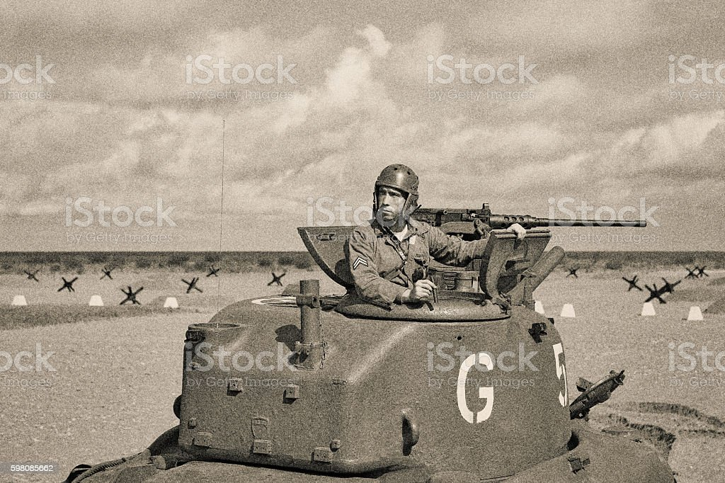 World War 2 Armored Tank on Beach stock photo