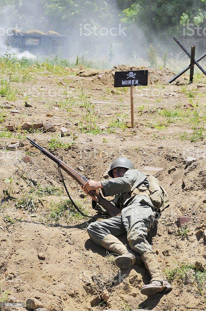 World War 2 Dday Military Reenactment Soldier Color Scene