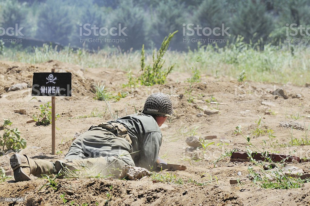 World War 2 D-Day Military Reenactment Soldier Color Scene royalty-free stock photo