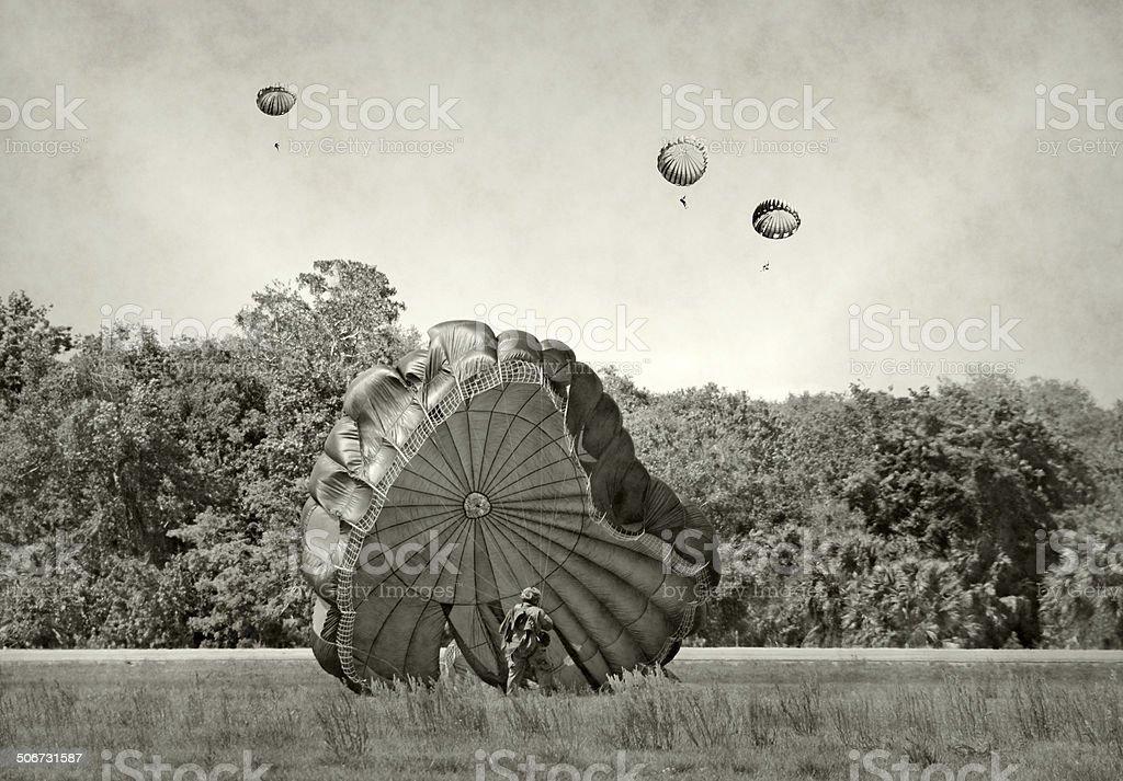 World War 2 era paratroopers stock photo