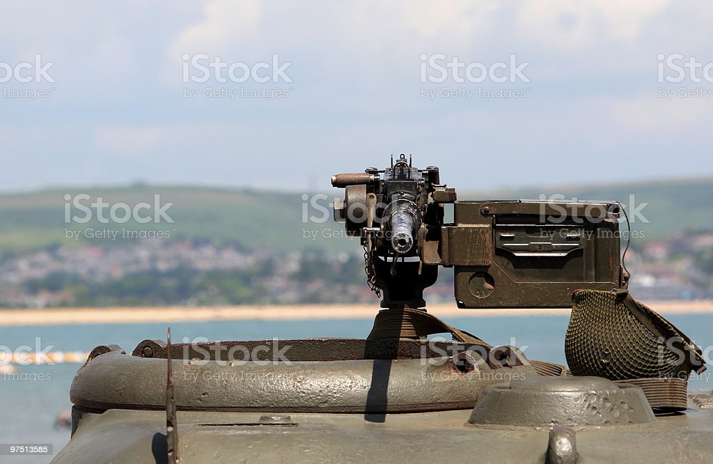 World War 2 Machine gun on green tank royalty-free stock photo