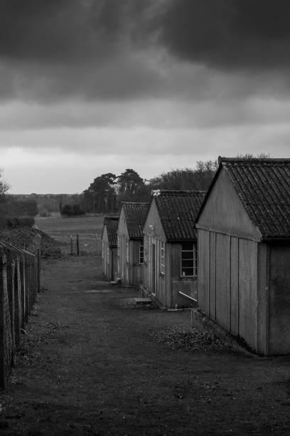 World War 2 military huts stock photo