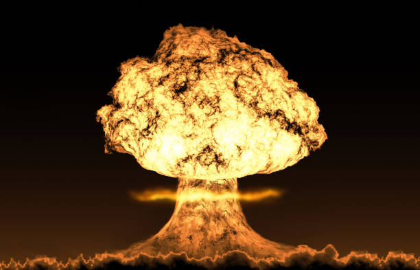 world war 3 nuclear background set - nuclear weapon stock photos and pictures