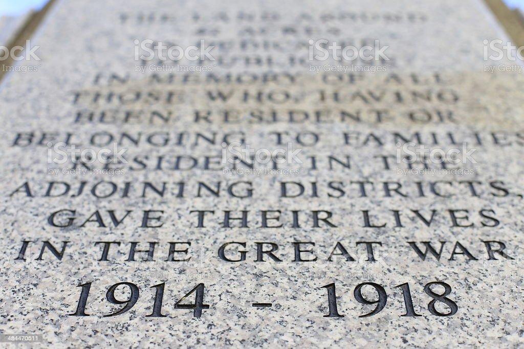 Erster Weltkrieg memorial Inschrift – Foto