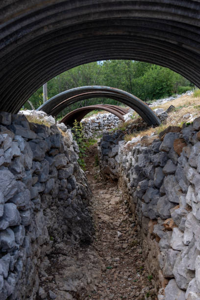 World War I trenches in Slovenia stock photo