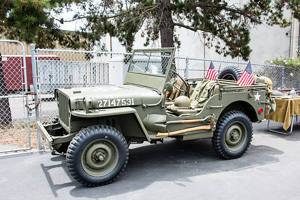 World War II Army Jeep San Luis Obispo, California, USA - July 18, 2015:  A World War II Army Jeep restored to original condition. willys stock pictures, royalty-free photos & images