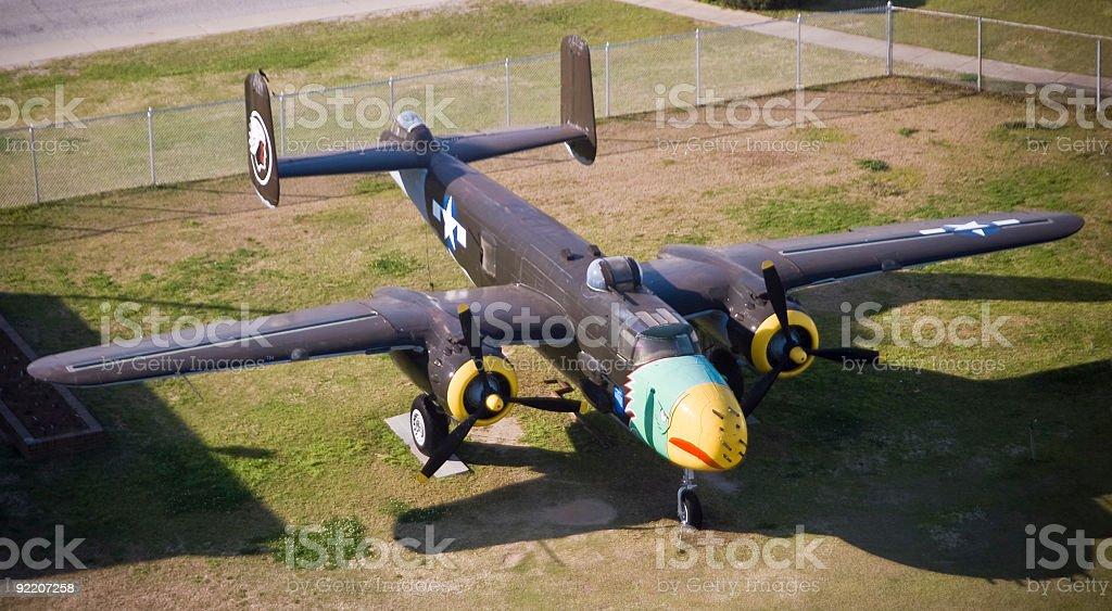 World War II B-25 Bomber High Angle stock photo