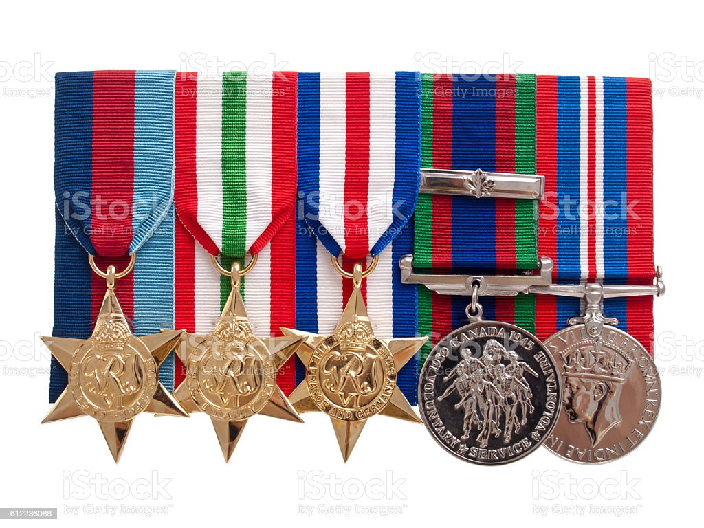 World War II Canadian medals stock photo