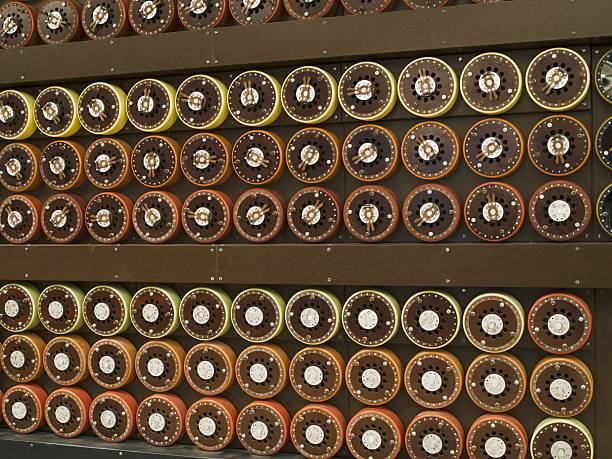 World War II code-breaking machine Model Bombe code-breaking machine used at Bletchley Park during World War II to decipher messages transmitted by German forces using Enigma encoding machines. buckinghamshire stock pictures, royalty-free photos & images