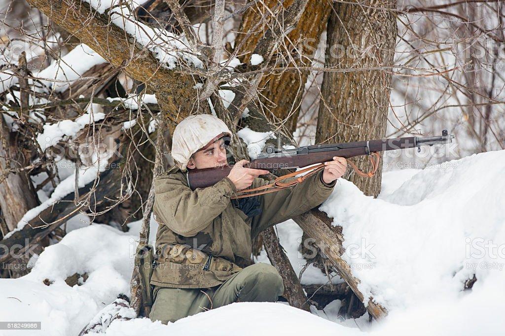 World War II: Covered Firing Position stock photo