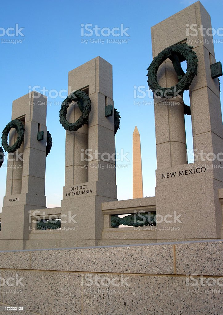World War II memorial and Washington Monument royalty-free stock photo