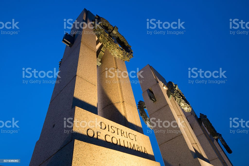World War II Memorial at Dusk stock photo