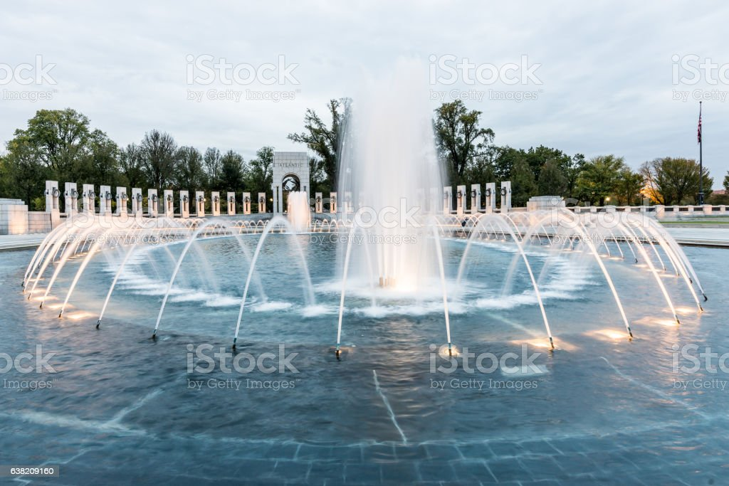 World War II Memorial at Sunset stock photo