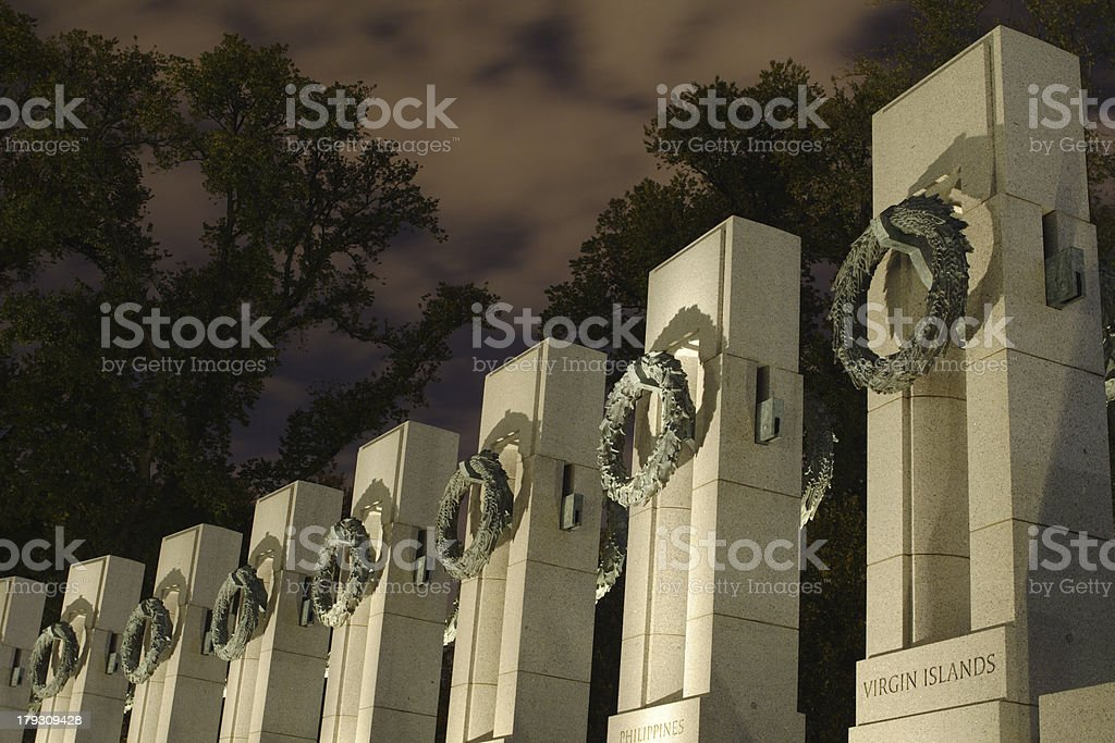 World War II Memorial in shadows at night stock photo